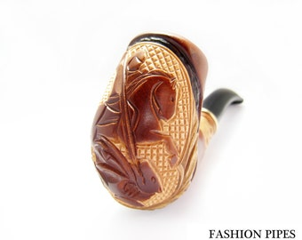 "Handcrafted Pipe ""GEORGE VICTORIES"", Wooden Tobacco Smoking Pipe of Pear Wood Plus Gift"