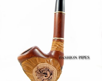 "Sale Exclusive Pipe ""DRAGON"", Tobacco Pipe - Smoking Pipe Engraved. The Best Gift Hand Carved, Limited Edition"