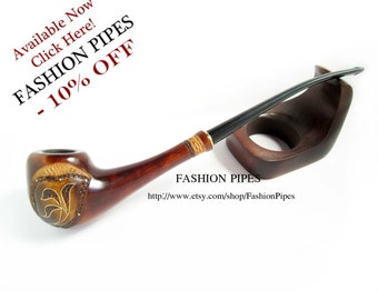 "Lady Wooden Tobacco pipe Inlaid ""Spring Style"". Long smoking pipe Magic Wood Pipe, Exclusive Handmade. Limited edition."