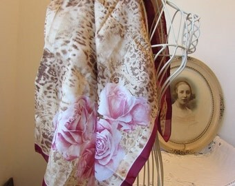Beautiful vintage French long silk scarf. Paris  Chic...