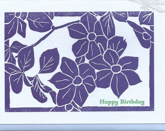 Floral Birthday Card, Hand-carved Linoleum Block Print, Letterpress