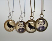 Edgar Allan Poe Earrings - The Raven Earrings - Little Antique Print Dangle Earrings In Brass or Silver