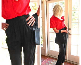 Vintage Howard Wolf black silky pant gathered pleats and big front pockets on trend versatile 1980's baggy pant: small, medium
