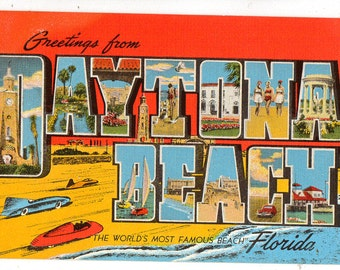Linen Postcard, Greetings from Daytona Beach, Florida, Beaches, Large Letter