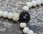 108 bead Buddhist prayer mala in bone & jet  M214