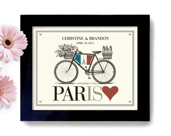 French Wedding Unique Engagement Gift Unique Wedding Gift Idea Bicycle Art Travel PosterFrench Theme Paris France Bride and Groom