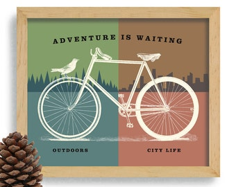 Bicycle Art Love Outdoors Nature Lover Bike Artwork Cycling Art Print Camping Decor Bike Enthusiast Office Art Trail Rider Outdoor Adventure