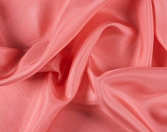 "45"" Wide 100% Silk Crepe de Chine Coral by the yard"