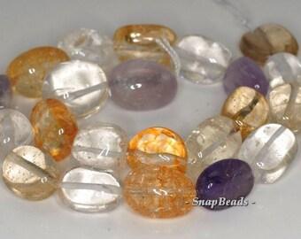 18x14-15x13mm Amethyst Citrine Lemon Smoky Mix Quartz Gemstone Nugget Loose Beads 7 inch Half Strand (90191085-B36-570)