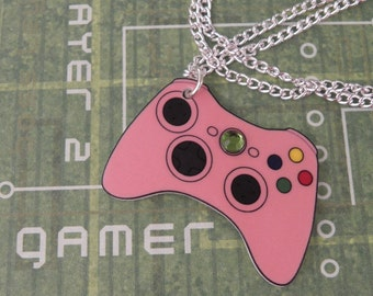 GIRL GAMER Pink Xbox 360 Video Games Controller Necklace XBOX360