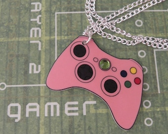 GIRL GAMER Pink Xbox 360 Video Games Controller Necklace - Geeky Video Games Jewellery - Gaming Geek Jewelry Gifts