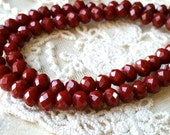 4 x 6 mm 48 Faceted Cut Rondelle Deep Red Color Glass / Crystal / Lampwork Beads (.ma)