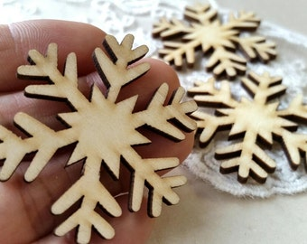 Unfinished Wooden Snowflake Plate/ Blank Unfinished Wooden Ornament / DIY Ornaments/ Wooden Key Pad DIY / Unfinished Wooden Tags (.hs)