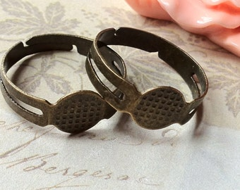 18 mm Antiqued Bronze Adjustable Ring Findings (.mg)