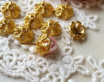 10 mm Golden Plated Thick Filigree Bead End Cap (.mhc)