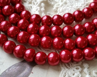 8 / 10 mm Deep Red Color Glass Pearl Beads (.mtgs)(.msu)