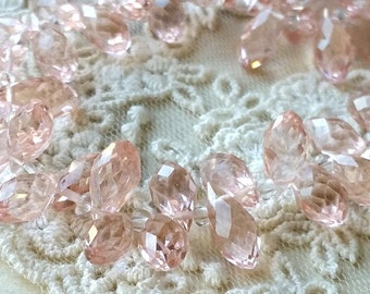 6 x 12 mm 48 Faceted Cut Tear Drop Shape Light Pink Glass / Crystal / Lampwork Beads (.ss)