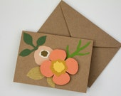 Flower Card, Hand Cut Floral Stationery, Dimensional Card