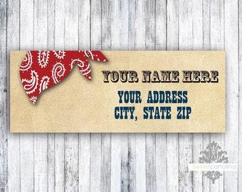 Return Address Labels - Set of 60 -Cowboy Western