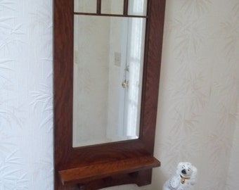 "Arts & Crafts ""Craftsman Style"" Hanging Wall Mirror 1"" Bevel Handcrafted Mission Style"