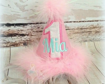 Baby girls 1st birthday hat - pink gingham birthday hat - pink first birthday hat - baby girls fabric embroidered birthday hat in pink