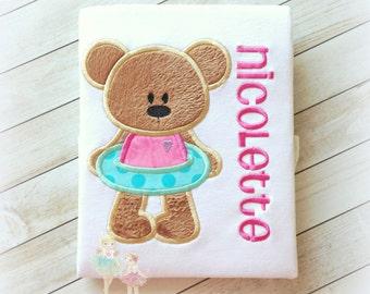 Summer Bear Applique Shirt- Swimming- Pool Party- Fuzzy Bear- Summer Time- Beach Bear