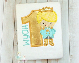 Little Prince Birthday Shirt, Golden Birthday, 1st Birthday Shirt, Boys Monogrammed embroidery