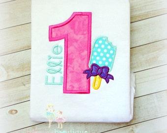 Popsicle birthday shirt - girls popsicle shirt - 1st birthday shirt - popscile themed birthday - summer themed birthday - summer birthday