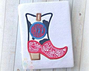 Cowboy shirt - cowboy boot shirt - rodeo shirt - boys rodeo shirt - boys cowboy shirt - custom personalized embroidered cowboy themed shirt