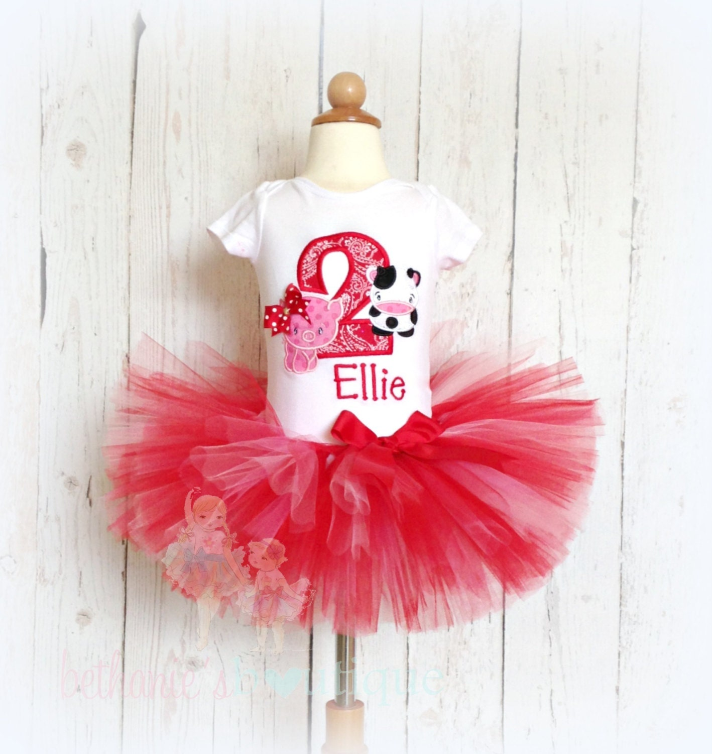 Birthday Farm Tutu Outfit-Pig And Cow Animal-Red And