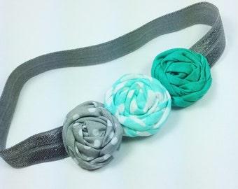 Aqua green baby headband, baby girl headband, little girl headband, infant headband, flower girl headband, twisted rosette, wedding,