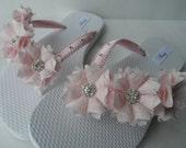 Bridal Pink Flip Flops / Shabby Flowers Flip Flops / Bridal Sandals / Wedding Shoes / Bridesmaids Shoes / Macrame Flip Flops.