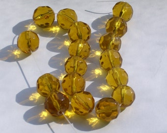 12 mm Faceted Round Gold Glass Beads ct 25