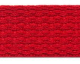 "1.25 "" Cotton Webbing by the yard, Red Webbing, Key Fob Webbing, Purse Straps, Belting"
