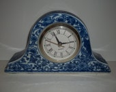 Clock, Mantel Clock, Colonial Blue Mantle Clock, VIntage Clock, Ceramic Clock, Blue and White Colonial Style Mantle Clock, Floral Clock