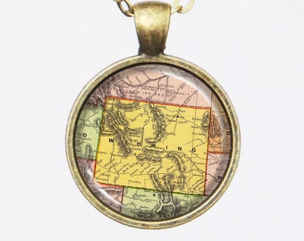 Wyoming State Map Necklace - Vintage Map of Wyoming-Vintage Map Series