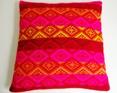 Pillow Cover knitted 50x50cm multicolored aztec pattern