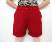Vintage Red Trouser Shorts