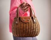 Vintage Purse Unique Woven Wicker and Vinyl Small Picnic Basket Handbag