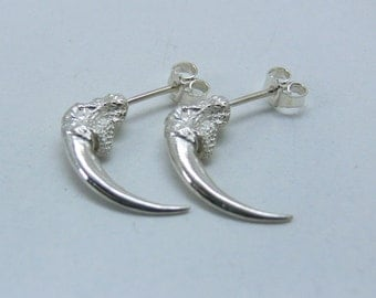 Large Owl Talon Ear Studs Sterling Silver - one pair