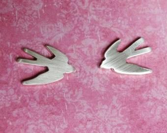 SALE Flying Swallow Studs Silver Bird Earrings - Sterling Silver (925)