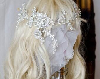 Morning & Star Handmade Hair Jewelry /Wedding Romantic /1920's /Lace veil /Diamond Crystal
