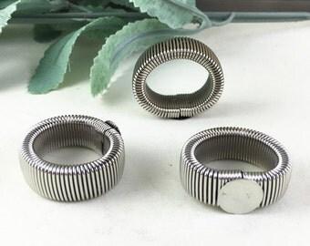 Ring Blanks -10pcs Nickel Tone Retractable Cabochon Ring Base Setting 12mm pad J4006