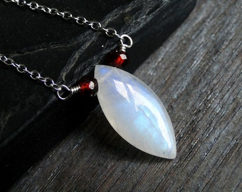 Rainbow Moonstone Necklace with Garnet on Sterling Silver - Ice Berries by Inkin on Etsy