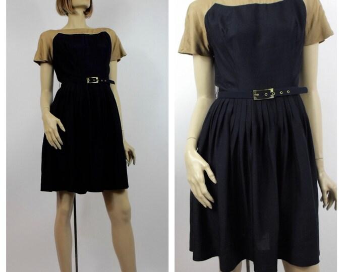 1950's Shantung Silk Day Dress // 50's Rockabilly Dress // Navy & Taupe Silk Pleated Skirt Dress // Size Medium