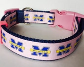 University of Michigan Inspired Dog  Collar Pink