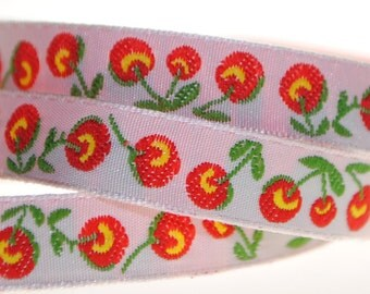 Red Cherries over White 2 Yards Jacquard Trim 3/8 inch wide