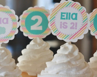 12 Cupcake Hot Air Balloon Girly Party Chevron Stripe Rainbow Theme Birthday Cupcake or Cake Toppers- Ask About our Party Pack Sale