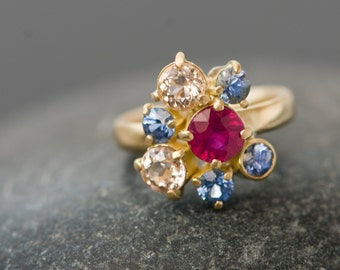 18K Gold Cluster Ring - Ruby and Sapphire Ring - Ruby Gold Ring with Sapphires and Morganites - Made to Order Engagement Ring -Free shipping