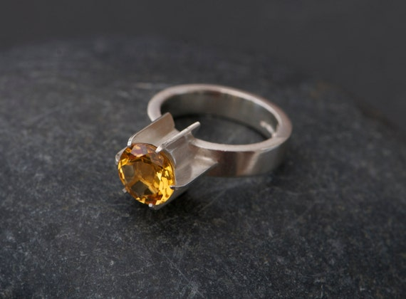 Citrine Silver Ring - Yellow Gemstone Engagement Ring - Citrine Fin Ring in Sterling Silver - Made to Order - FREE SHIPPING